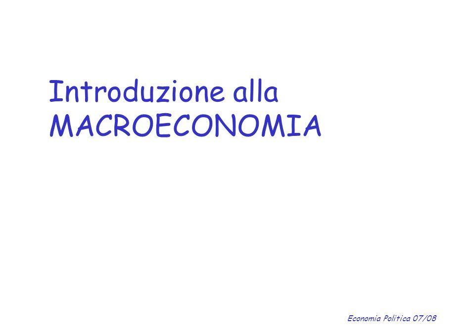 Economia Politica 07/08 La funzione del consumo La propensione marginale al consumo (PMgC) indica quella frazione di un euro aggiuntivo di reddito che le famiglie spendono per acquistare beni di consumo.