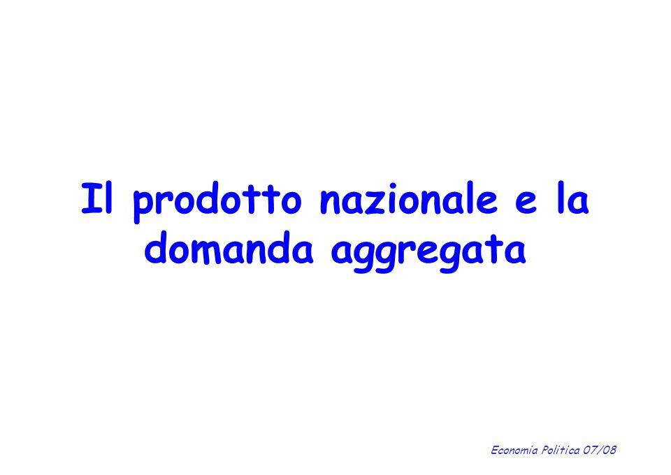 Economia Politica 07/08 Il prodotto nazionale e la domanda aggregata