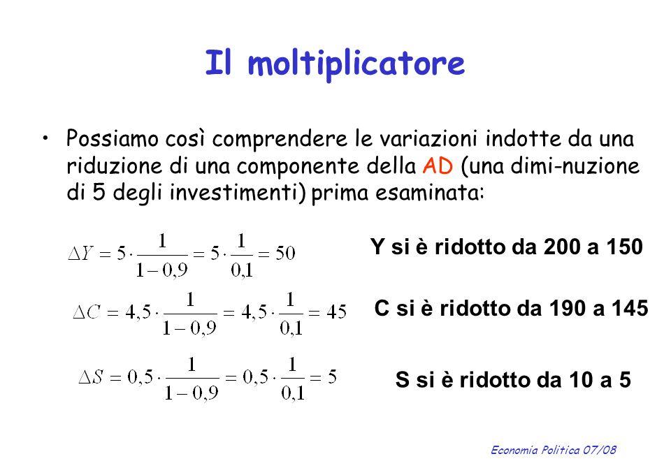Economia Politica 07/08 Il moltiplicatore Possiamo così comprendere le variazioni indotte da una riduzione di una componente della AD (una dimi-nuzion