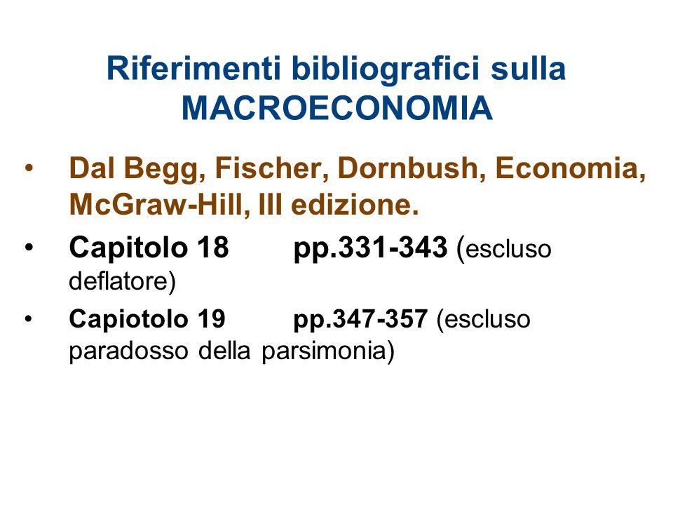Riferimenti bibliografici sulla MACROECONOMIA Dal Begg, Fischer, Dornbush, Economia, McGraw-Hill, III edizione. Capitolo 18pp.331-343 ( escluso deflat