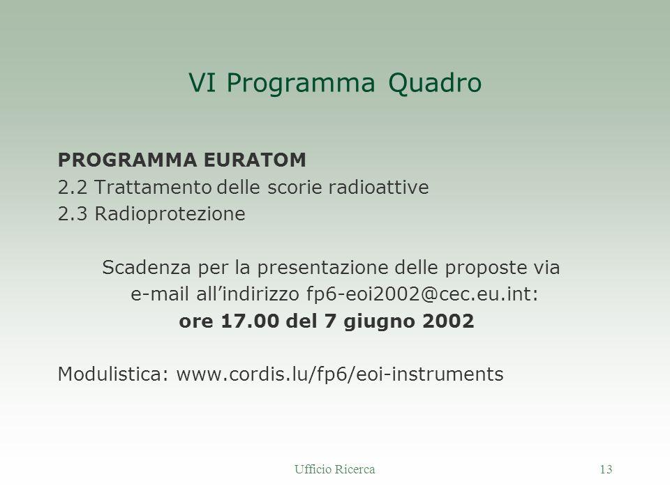 Ufficio Ricerca13 VI Programma Quadro PROGRAMMA EURATOM 2.2 Trattamento delle scorie radioattive 2.3 Radioprotezione Scadenza per la presentazione delle proposte via e-mail allindirizzo fp6-eoi2002@cec.eu.int: ore 17.00 del 7 giugno 2002 Modulistica: www.cordis.lu/fp6/eoi-instruments