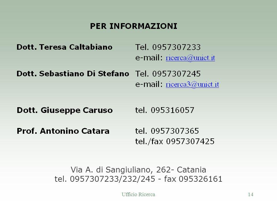Ufficio Ricerca14 Via A. di Sangiuliano, 262- Catania tel. 0957307233/232/245 - fax 095326161