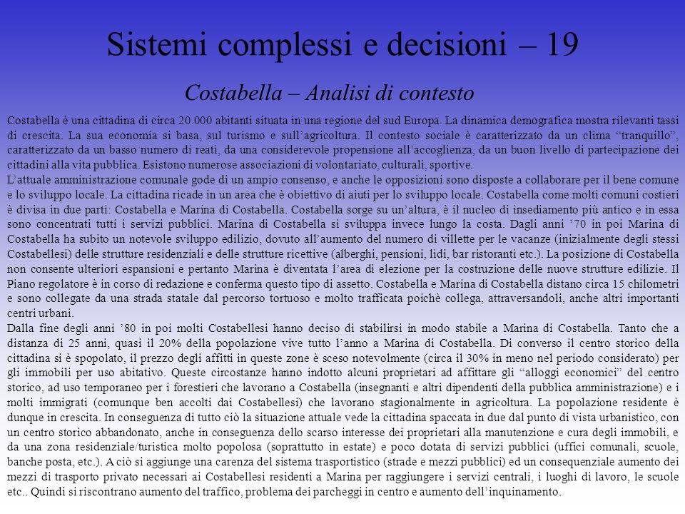 Sistemi complessi e decisioni – 19 Costabella – Analisi di contesto Costabella è una cittadina di circa 20.000 abitanti situata in una regione del sud Europa.