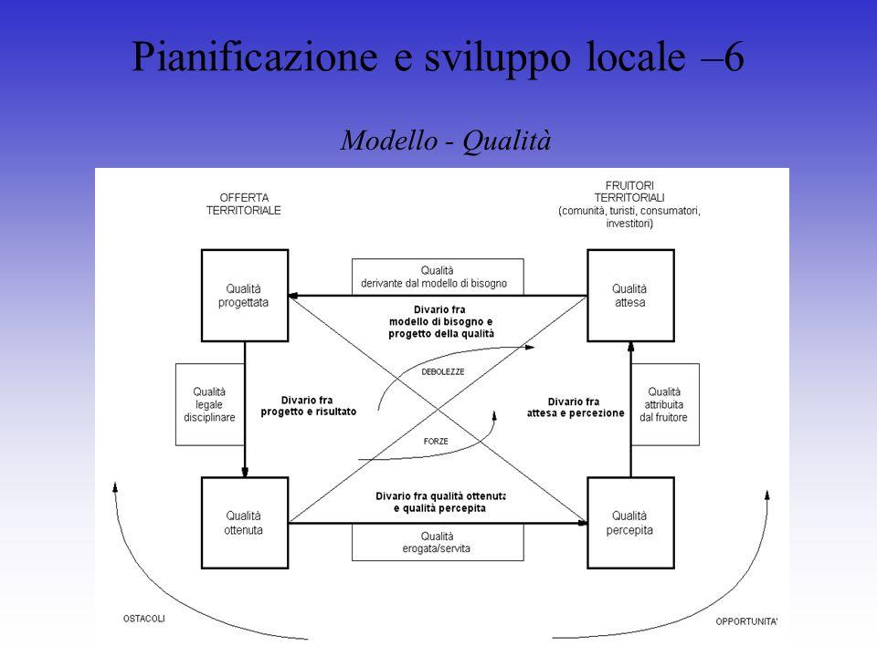 Pianificazione e sviluppo locale –6 Modello - Qualità