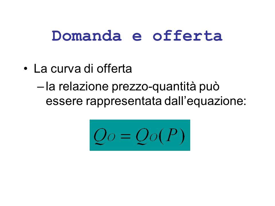 Domanda e offerta La curva di offerta –la relazione prezzo-quantità può essere rappresentata dallequazione: