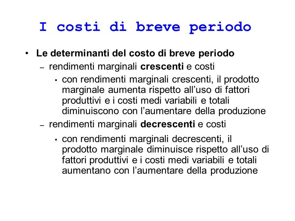 I costi di breve periodo Le determinanti del costo di breve periodo – rendimenti marginali crescenti e costi con rendimenti marginali crescenti, il pr