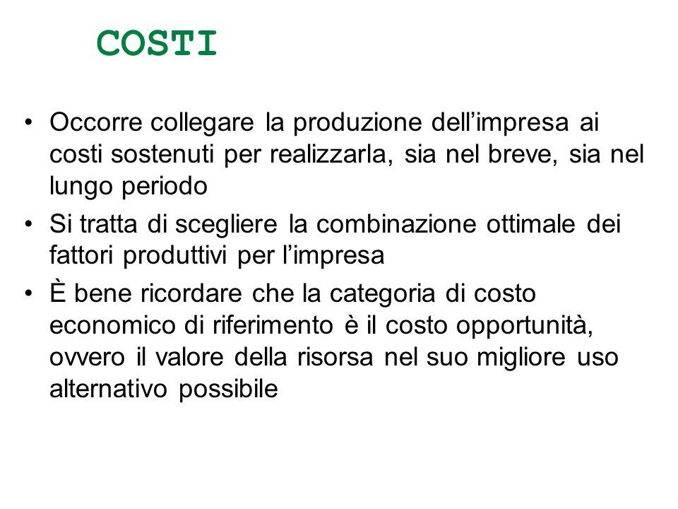 COSTI Occorre collegare la produzione dellimpresa ai costi sostenuti per realizzarla, sia nel breve, sia nel lungo periodo Si tratta di scegliere la c