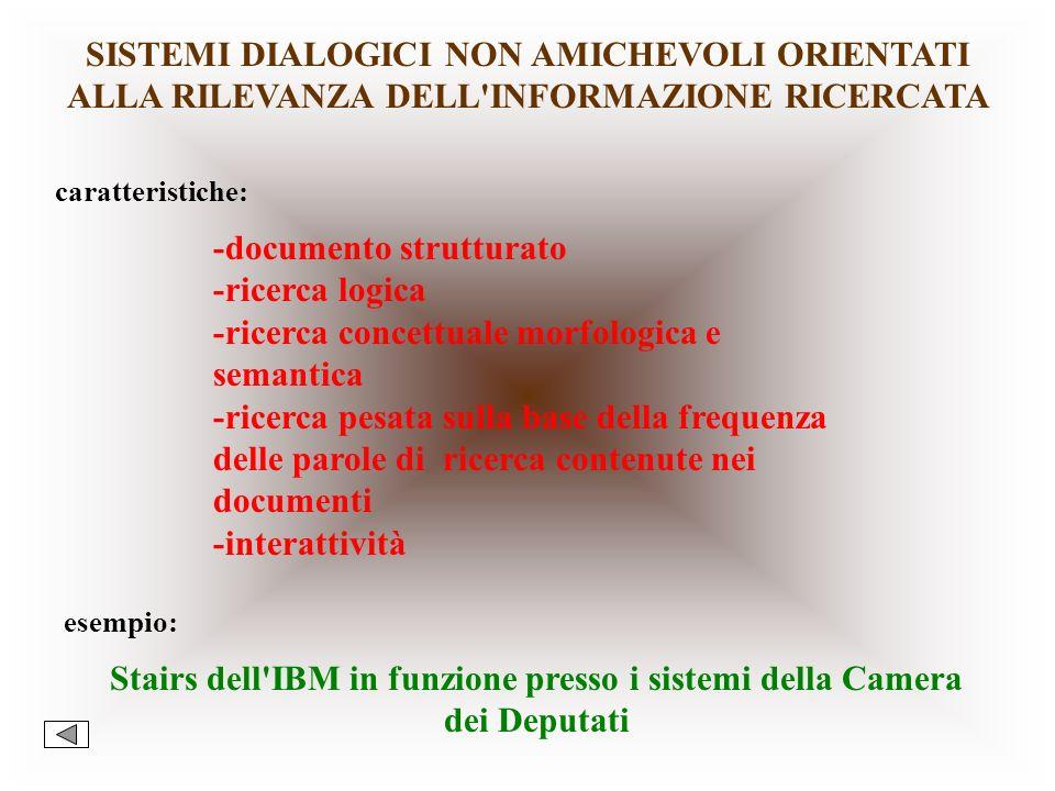 SISTEMI DIALOGICI CLASSICI caratteristiche:-a linguaggio di consultazione non amichevole -documento strutturato -ricerca logica (and, or, not) -ricerc