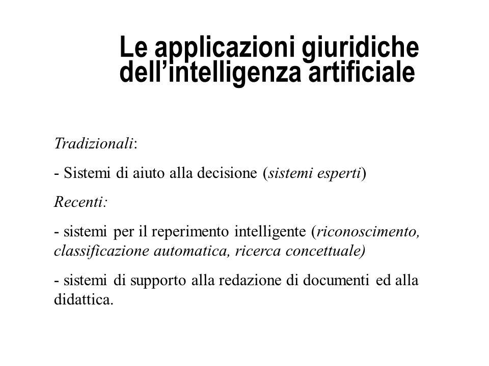 Le applicazioni giuridiche dellintelligenza artificiale Tradizionali: - Sistemi di aiuto alla decisione (sistemi esperti) Recenti: - sistemi per il re
