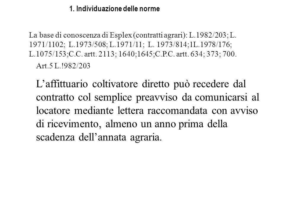 1. Individuazione delle norme La base di conoscenza di Esplex (contratti agrari): L.1982/203; L. 1971/1102; L.1973/508; L.1971/11; L. 1973/814;1L.1978