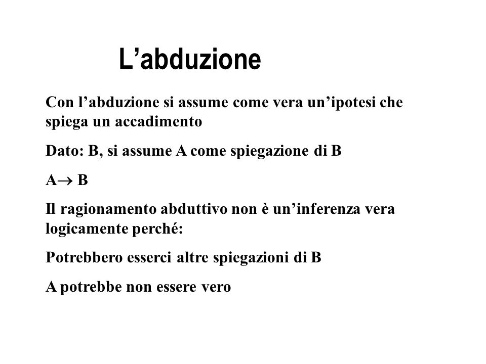 Labduzione Con labduzione si assume come vera unipotesi che spiega un accadimento Dato: B, si assume A come spiegazione di B A B Il ragionamento abdut