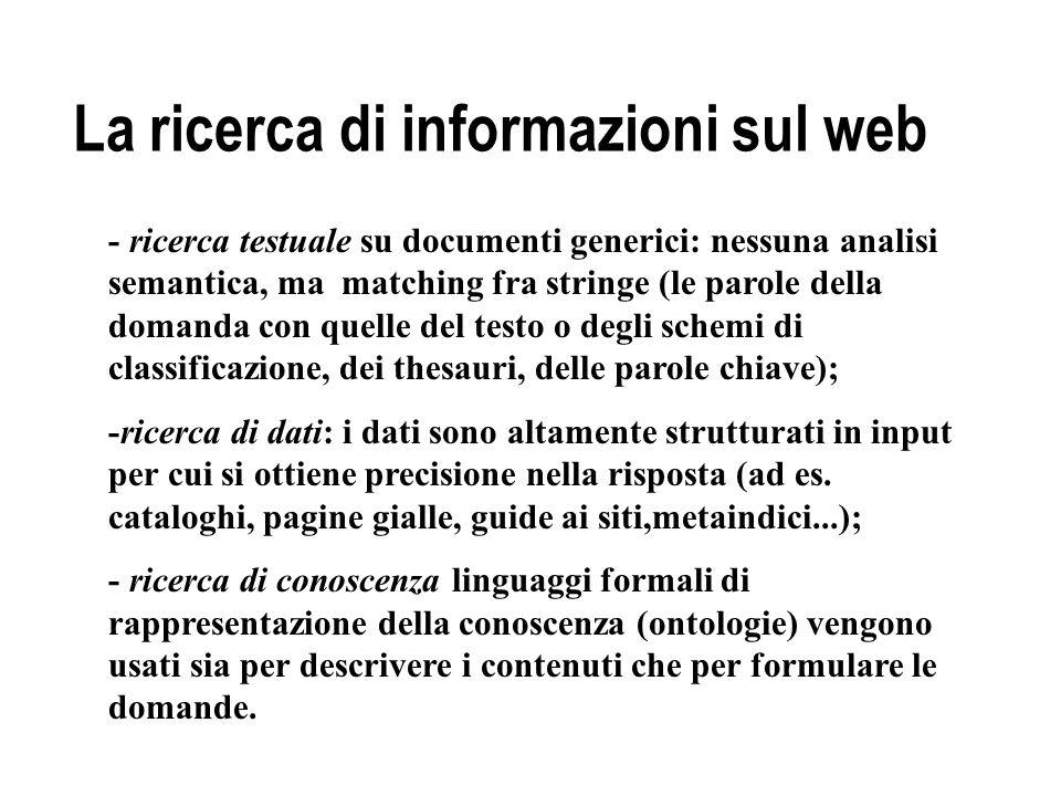 La ricerca di informazioni sul web - ricerca testuale su documenti generici: nessuna analisi semantica, ma matching fra stringe (le parole della doman