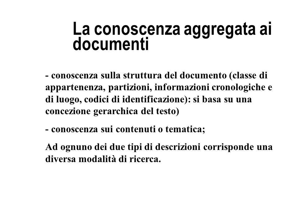 La conoscenza aggregata ai documenti - conoscenza sulla struttura del documento (classe di appartenenza, partizioni, informazioni cronologiche e di lu