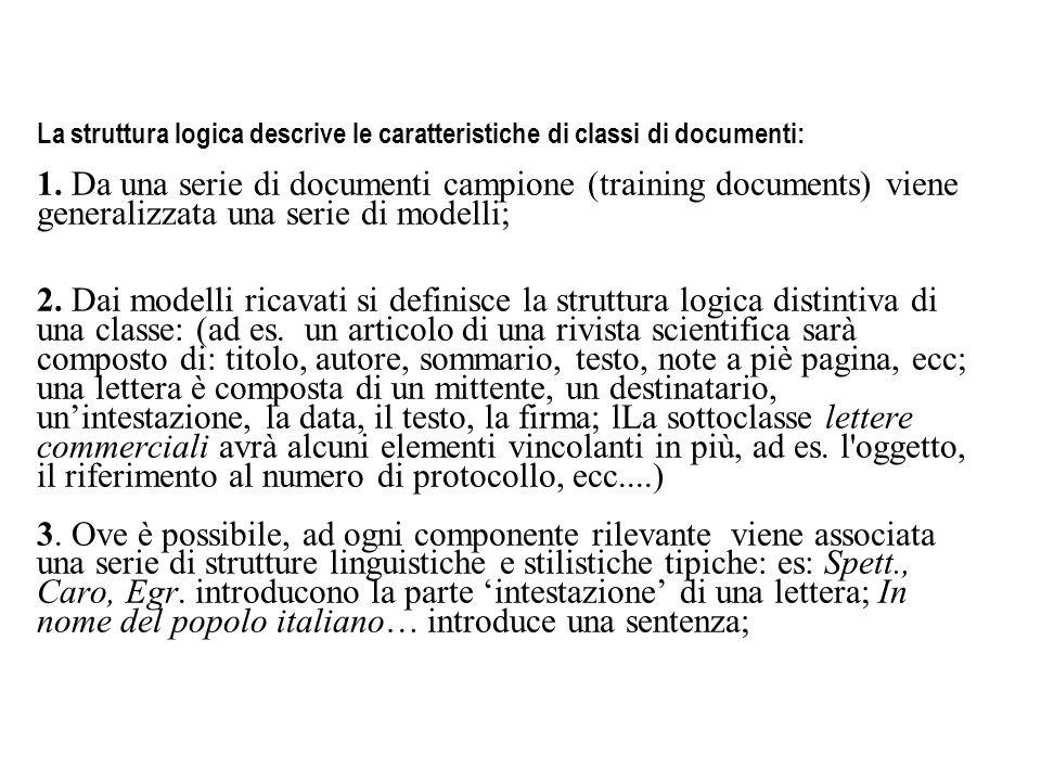La struttura logica descrive le caratteristiche di classi di documenti: 1. Da una serie di documenti campione (training documents) viene generalizzata