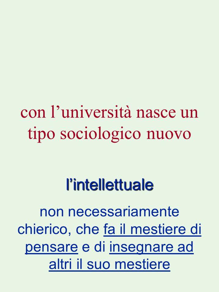 con luniversità nasce un tipo sociologico nuovo lintellettuale non necessariamente chierico, che fa il mestiere di pensare e di insegnare ad altri il