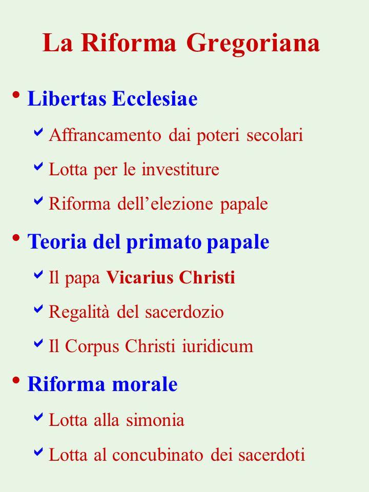 La Riforma Gregoriana Libertas Ecclesiae Affrancamento dai poteri secolari Lotta per le investiture Riforma dellelezione papale Teoria del primato pap
