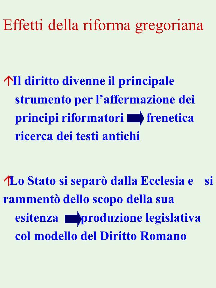 Effetti della riforma gregoriana á Il diritto divenne il principale strumento per laffermazione dei principi riformatori frenetica ricerca dei testi a