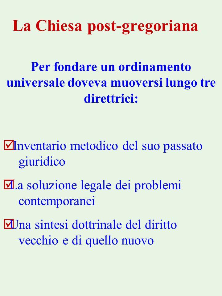 La Chiesa post-gregoriana Per fondare un ordinamento universale doveva muoversi lungo tre direttrici: þ Inventario metodico del suo passato giuridico