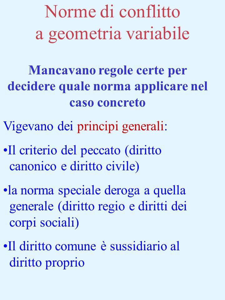 Norme di conflitto a geometria variabile Mancavano regole certe per decidere quale norma applicare nel caso concreto Vigevano dei principi generali: I