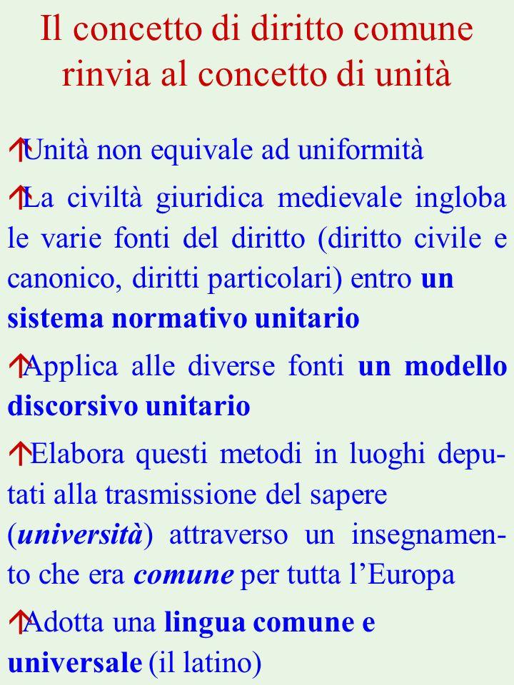 Il concetto di diritto comune rinvia al concetto di unità áUnità non equivale ad uniformità áLa civiltà giuridica medievale ingloba le varie fonti del