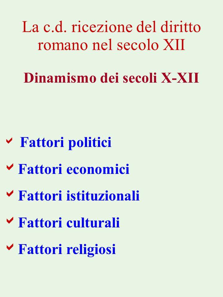 La c.d. ricezione del diritto romano nel secolo XII Dinamismo dei secoli X-XII Fattori politici Fattori economici Fattori istituzionali Fattori cultur