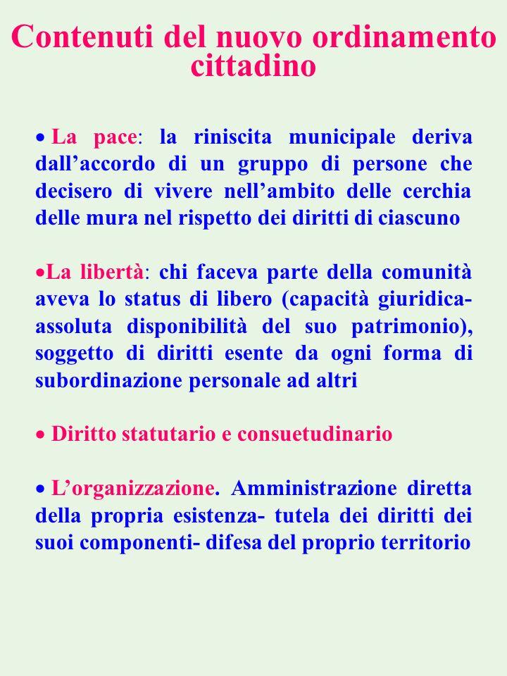Contenuti del nuovo ordinamento cittadino La pace: la riniscita municipale deriva dallaccordo di un gruppo di persone che decisero di vivere nellambit