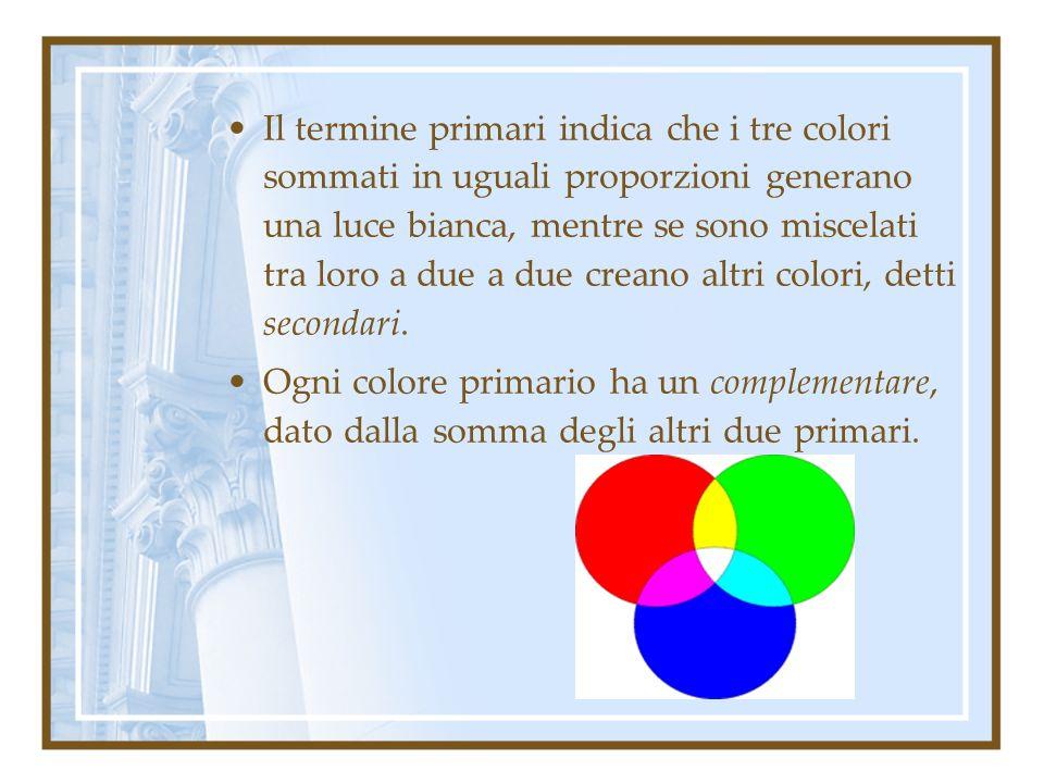 Il termine primari indica che i tre colori sommati in uguali proporzioni generano una luce bianca, mentre se sono miscelati tra loro a due a due crean