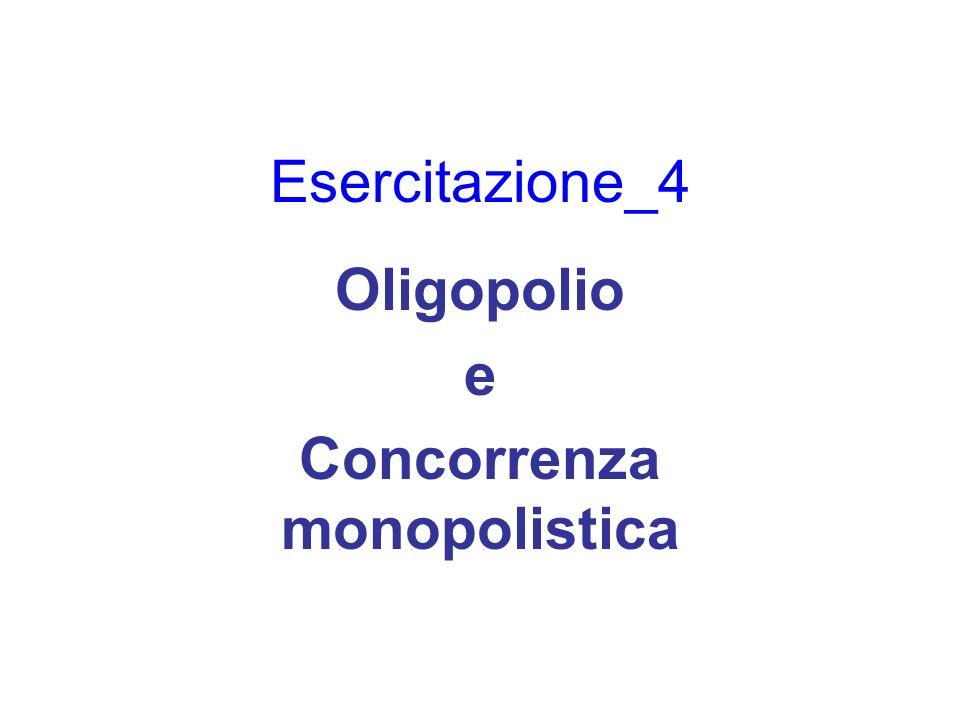 Esercitazione_4 Oligopolio e Concorrenza monopolistica