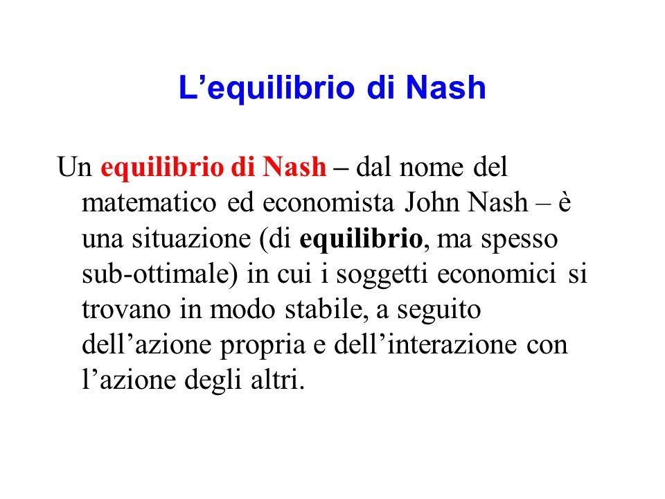 Lequilibrio di Nash Un equilibrio di Nash – dal nome del matematico ed economista John Nash – è una situazione (di equilibrio, ma spesso sub-ottimale)