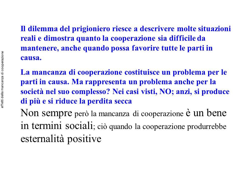 Non sempre però la mancanza di cooperazione è un bene in termini sociali ; ciò quando la cooperazione produrrebbe esternalità positive Il dilemma del