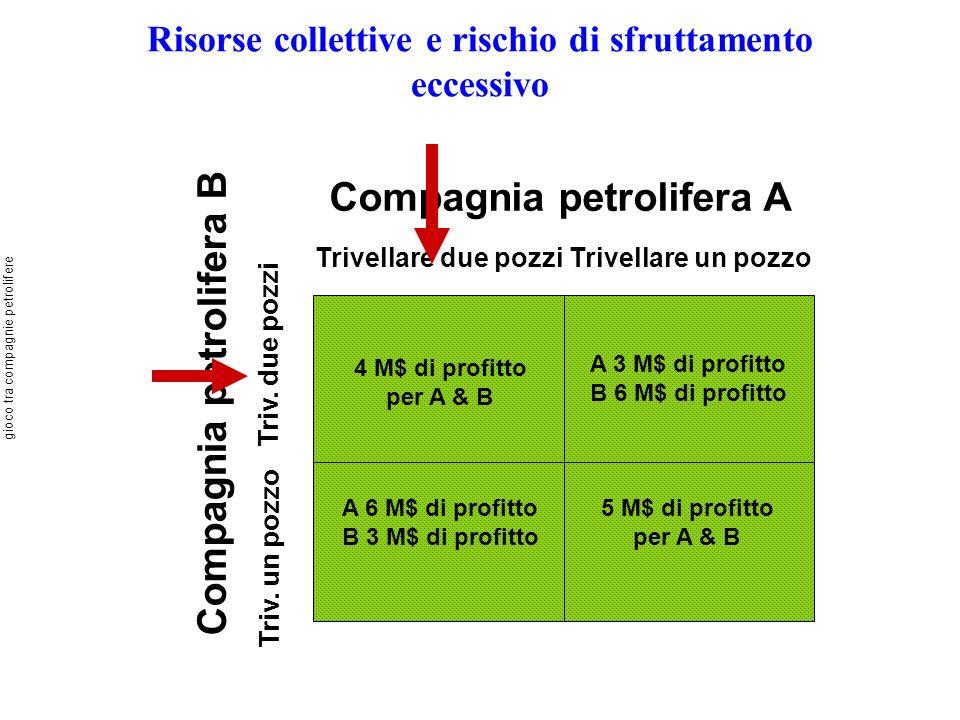 Risorse collettive e rischio di sfruttamento eccessivo Compagnia petrolifera A Trivellare due pozziTrivellare un pozzo Compagnia petrolifera B Triv. u