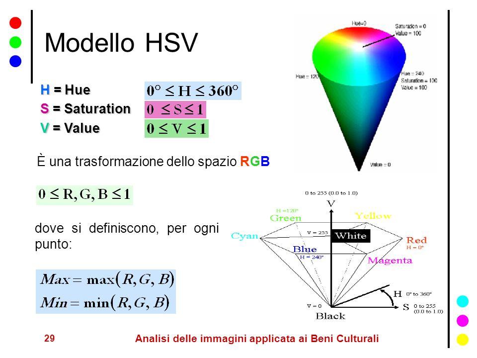 29 Analisi delle immagini applicata ai Beni Culturali Modello HSV H = Hue S = Saturation V = Value È una trasformazione dello spazio RGB dove si defin