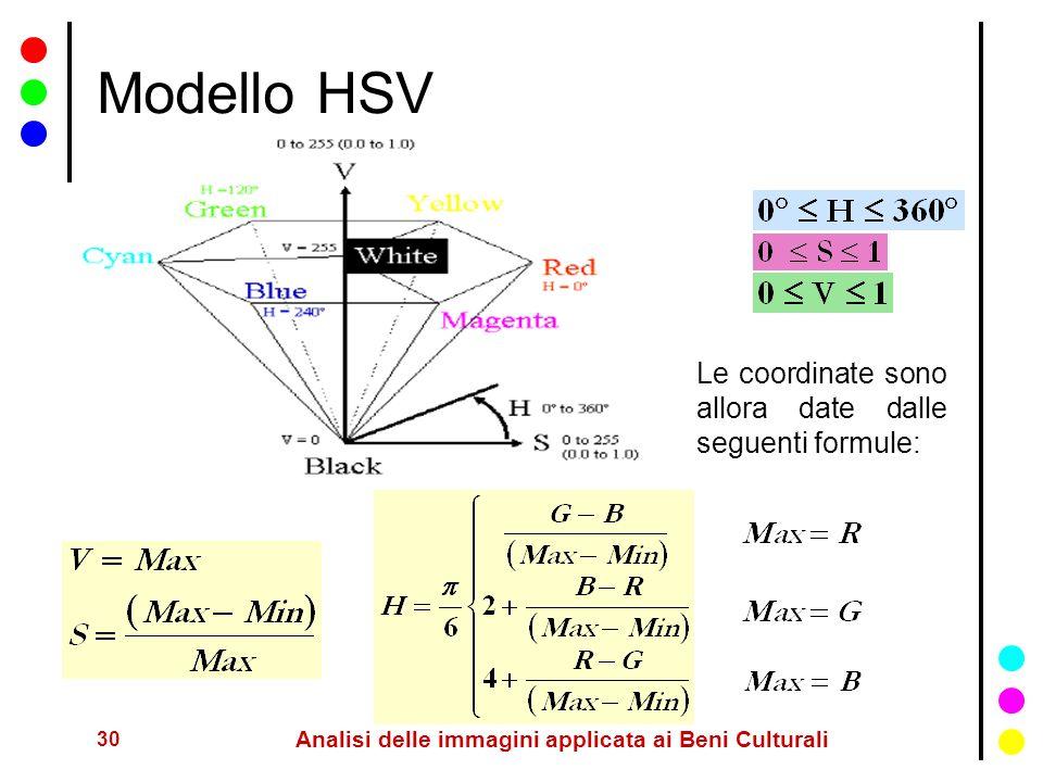 30 Analisi delle immagini applicata ai Beni Culturali Modello HSV Le coordinate sono allora date dalle seguenti formule: