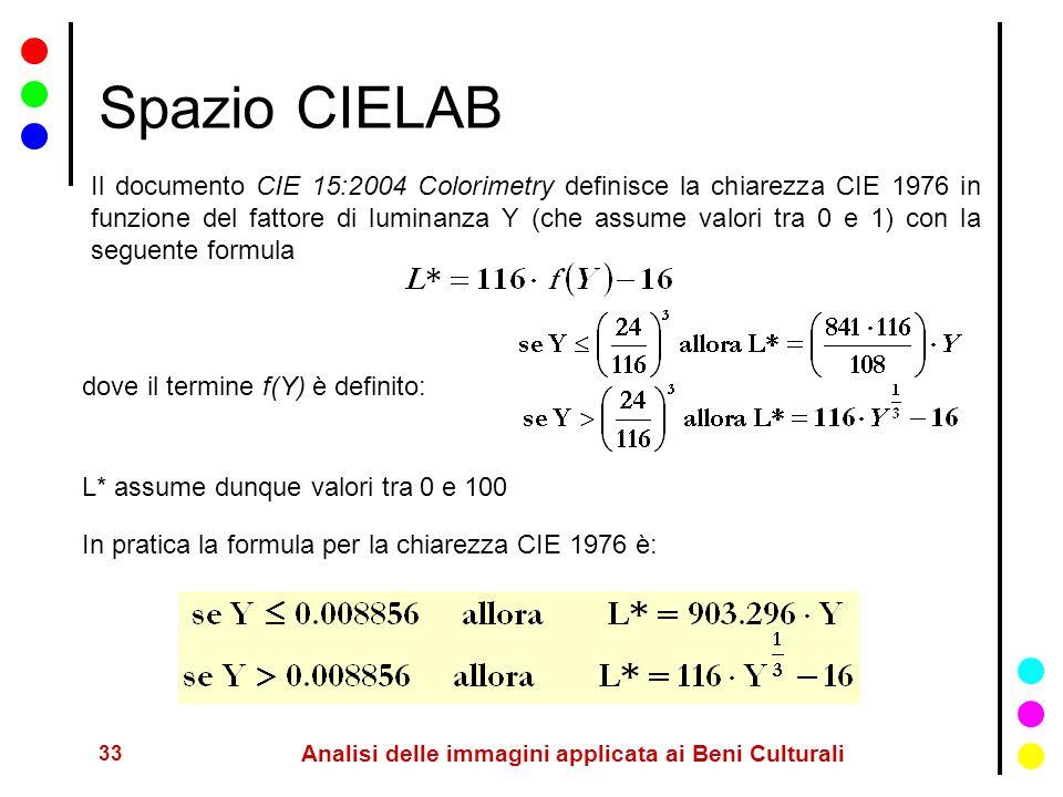33 Analisi delle immagini applicata ai Beni Culturali Spazio CIELAB Il documento CIE 15:2004 Colorimetry definisce la chiarezza CIE 1976 in funzione d