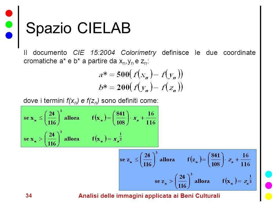 34 Analisi delle immagini applicata ai Beni Culturali Spazio CIELAB Il documento CIE 15:2004 Colorimetry definisce le due coordinate cromatiche a* e b