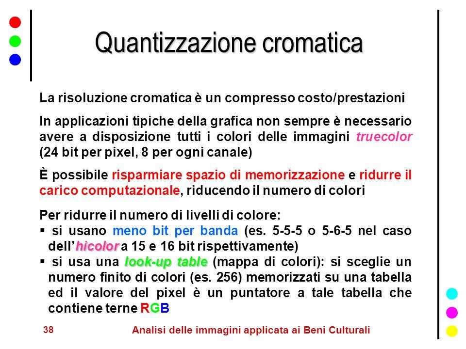 38 Analisi delle immagini applicata ai Beni Culturali Quantizzazione cromatica La risoluzione cromatica è un compresso costo/prestazioni In applicazio