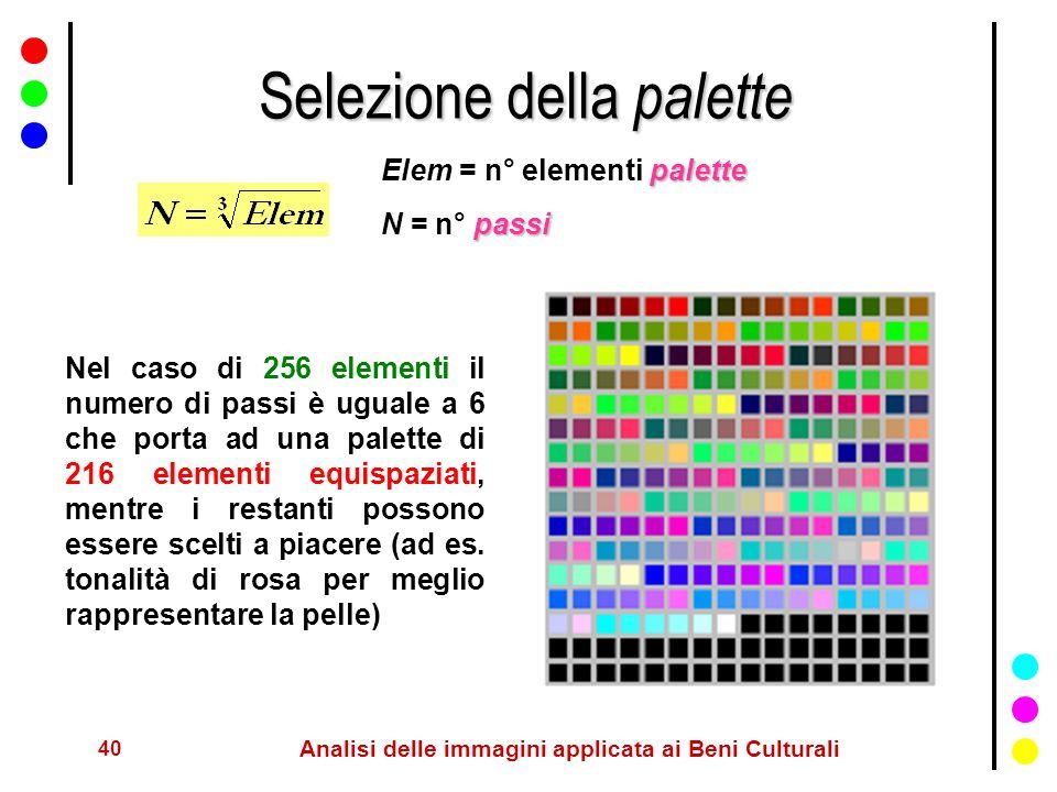 40 Analisi delle immagini applicata ai Beni Culturali Selezione della palette palette Elem = n° elementi palette passi N = n° passi Nel caso di 256 el
