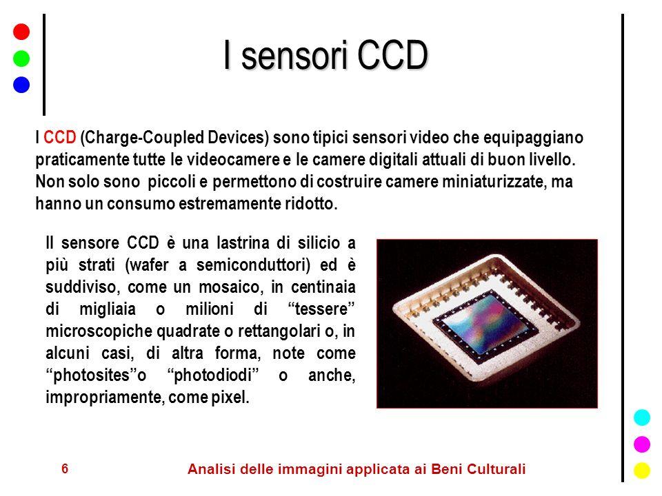 6 Analisi delle immagini applicata ai Beni Culturali I sensori CCD I CCD (Charge-Coupled Devices) sono tipici sensori video che equipaggiano praticame