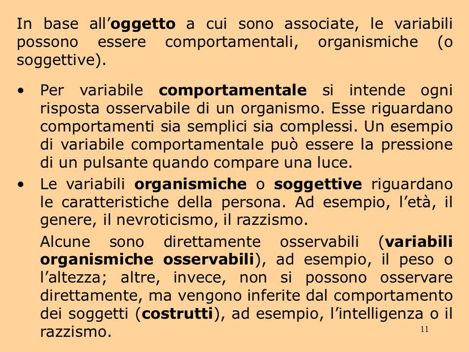 11 In base alloggetto a cui sono associate, le variabili possono essere comportamentali, organismiche (o soggettive).