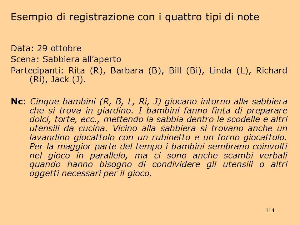114 Data: 29 ottobre Scena: Sabbiera allaperto Partecipanti: Rita (R), Barbara (B), Bill (Bi), Linda (L), Richard (Ri), Jack (J).