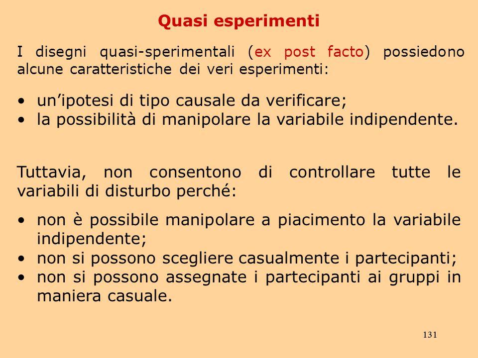 131 Quasi esperimenti I disegni quasi-sperimentali (ex post facto) possiedono alcune caratteristiche dei veri esperimenti: unipotesi di tipo causale da verificare; la possibilità di manipolare la variabile indipendente.
