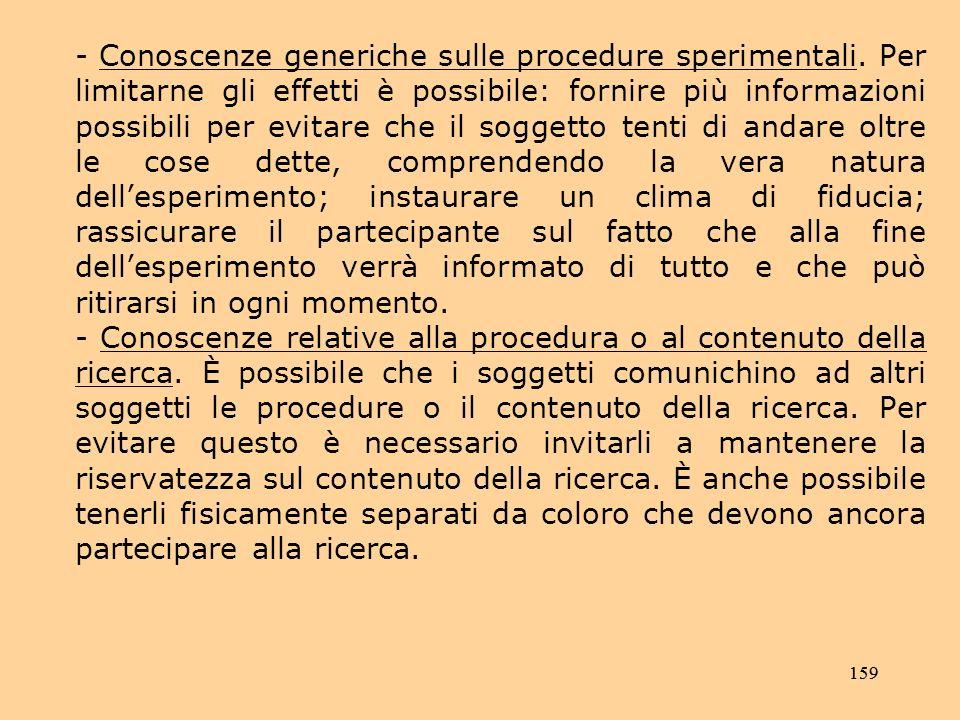 159 - Conoscenze generiche sulle procedure sperimentali.