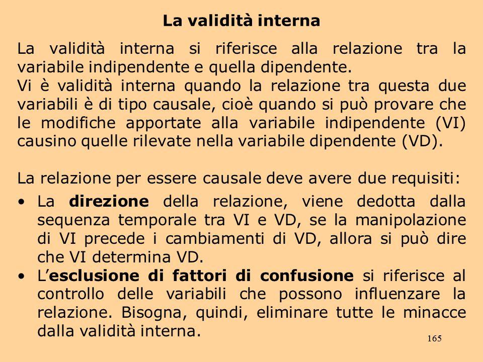 165 La validità interna La validità interna si riferisce alla relazione tra la variabile indipendente e quella dipendente.