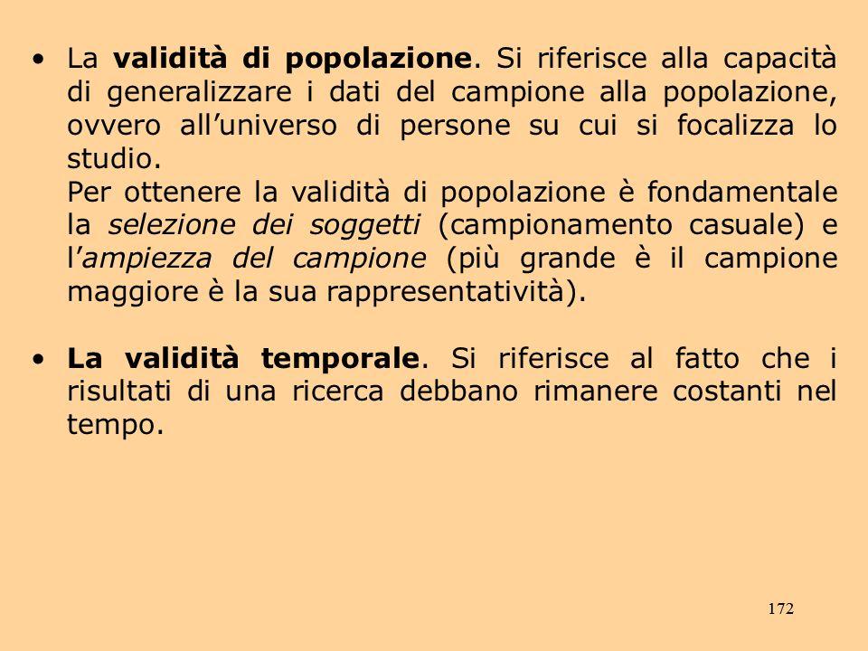 172 La validità di popolazione.