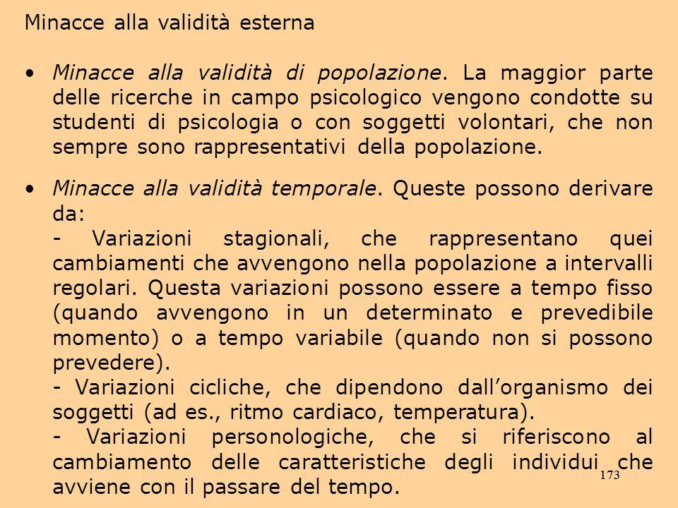 173 Minacce alla validità esterna Minacce alla validità di popolazione.