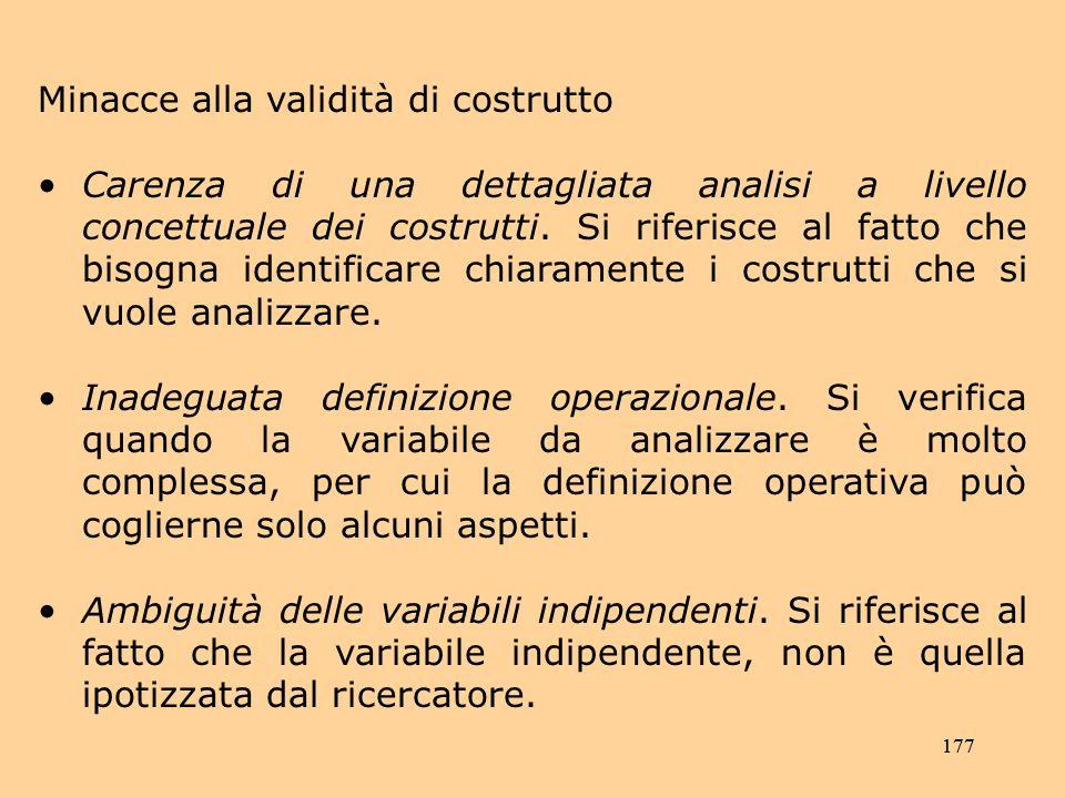 177 Minacce alla validità di costrutto Carenza di una dettagliata analisi a livello concettuale dei costrutti.