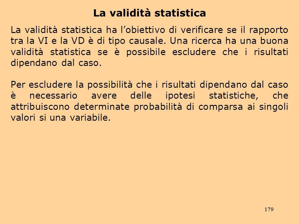179 La validità statistica La validità statistica ha lobiettivo di verificare se il rapporto tra la VI e la VD è di tipo causale.