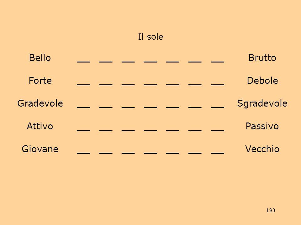 193 Il sole Bello__ Brutto Forte__ Debole Gradevole__ Sgradevole Attivo__ Passivo Giovane__ Vecchio
