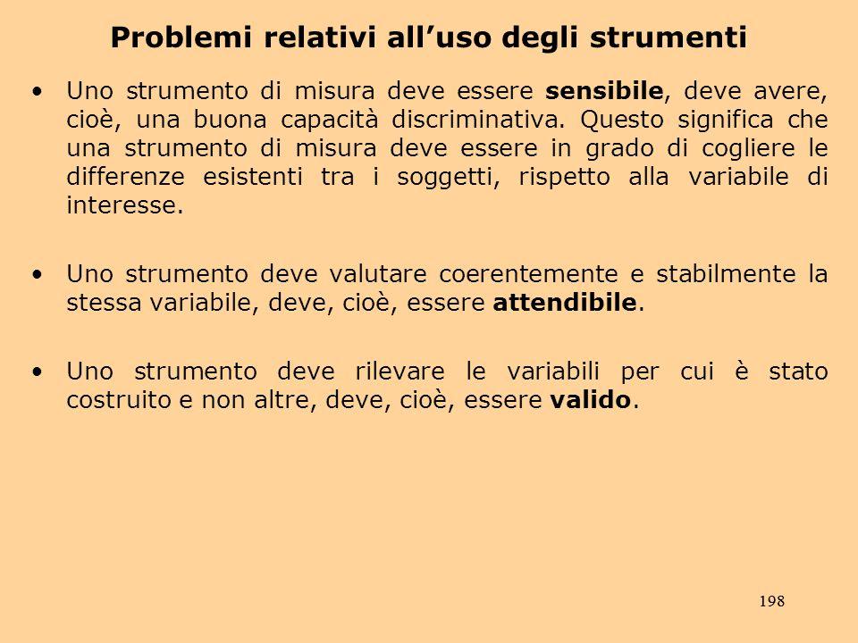 198 Problemi relativi alluso degli strumenti Uno strumento di misura deve essere sensibile, deve avere, cioè, una buona capacità discriminativa.