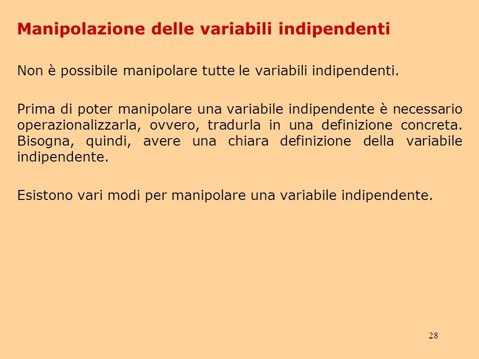 28 Non è possibile manipolare tutte le variabili indipendenti.